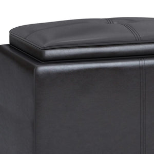 Tanners Brown Faux Leather | Avalon 2 Tray Storage Ottoman