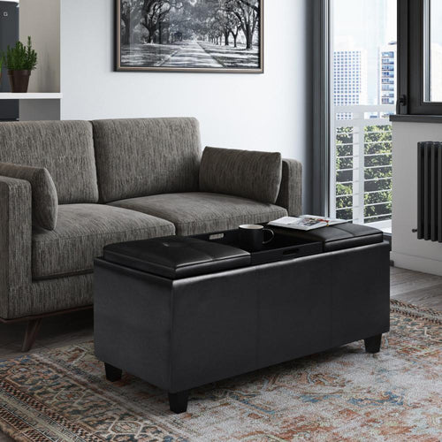 Midnight Black | Avalon Tray Storage Ottoman with Lift Up Lids