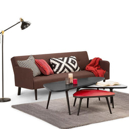 Aubrey 55 inch Wide Mid Century Modern Coffee Table in Midnight Black, Red, White (3pc Nesting Set)