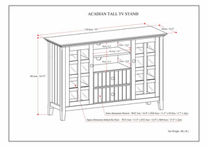 Rustic Natural Aged Brown | Acadian Tall TV Stand