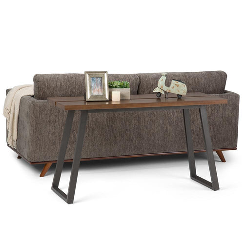 Adler Solid Wood Console Sofa Table in Light Walnut Brown