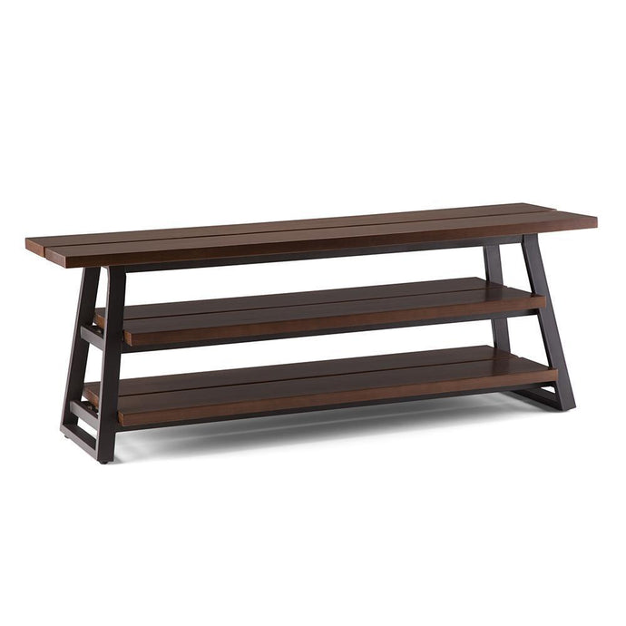 Adler Solid Wood Low TV Media Stand in Light Walnut Brown