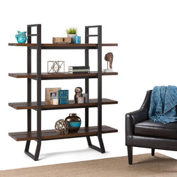Adler Solid Wood Bookcase in Light Walnut Brown