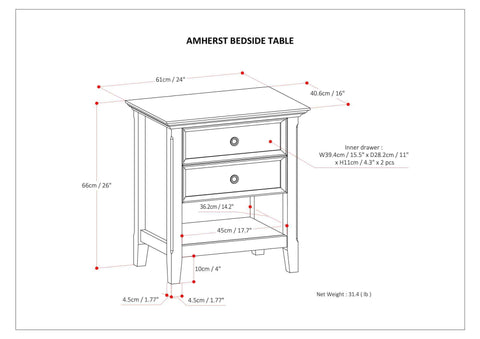 Rustic Natural Aged Brown | Amherst Bedside Table