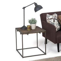 Avery 20 inch Square End Side Table in Distressed Java Brown Wood Inlay