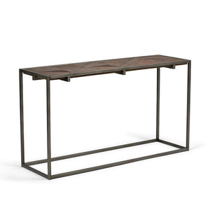 Avery 54 x 16 inch Console Sofa Table in Distressed Java Brown Wood Inlay