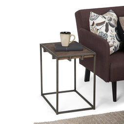 Avery 20 x 14 inch Narrow End Side Table in Distressed Java Brown Wood Inlay