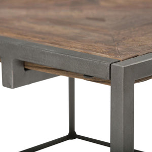 Avery 34 inch Square Coffee Table in Distressed Java Brown Wood Inlay