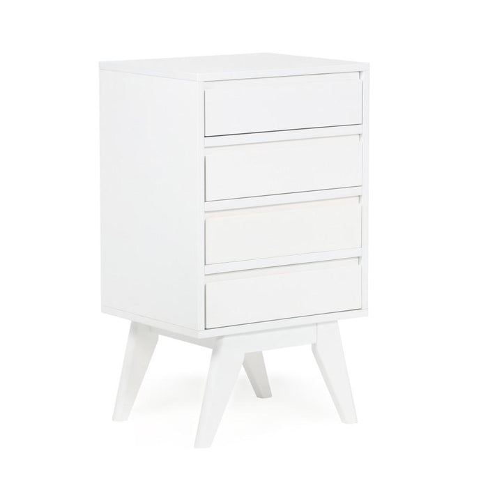 Pure White | Draper Mid Century Four Drawer Floor Storage Cabinet