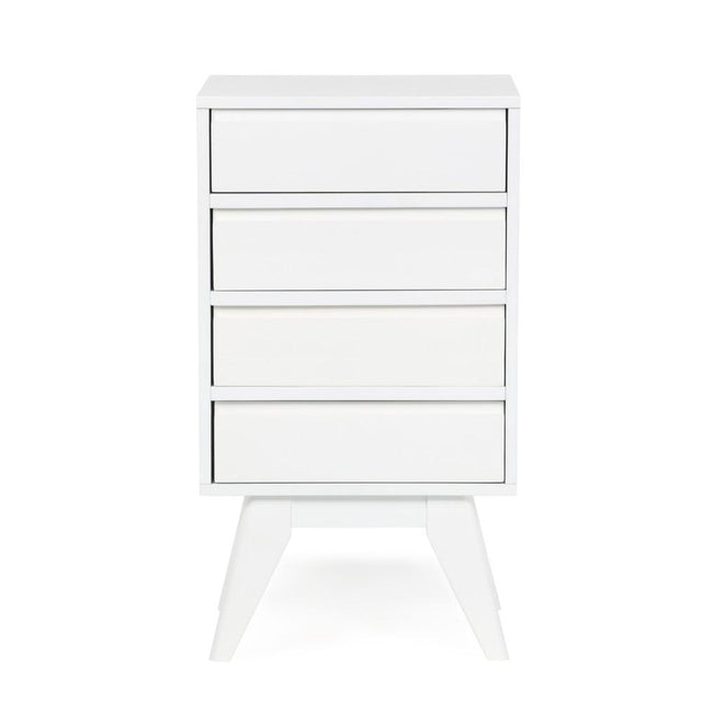 Load image into Gallery viewer, Pure White | Draper Mid Century Four Drawer Floor Storage Cabinet