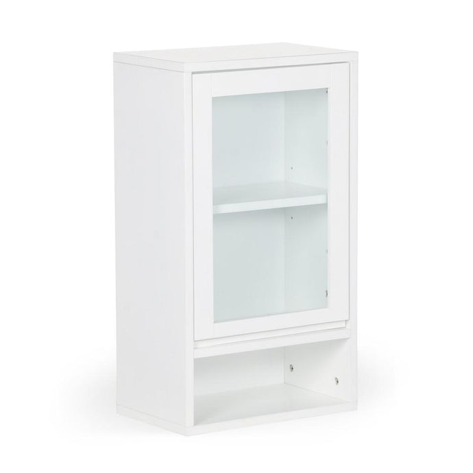 Pure White | Draper Mid Century Single Door Wall Cabinet