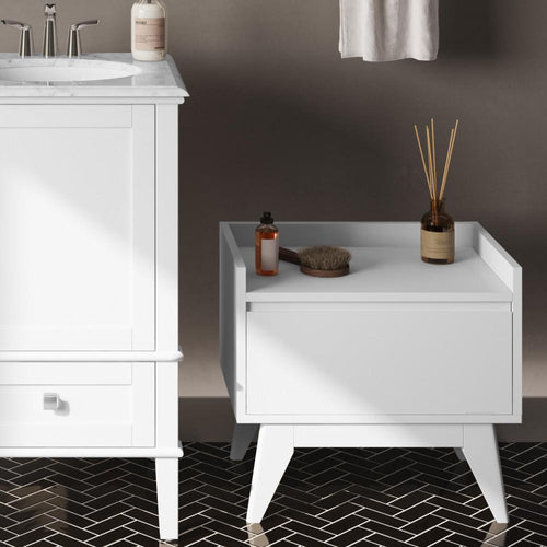 Pure White | Draper Mid Century Storage Hamper Bench