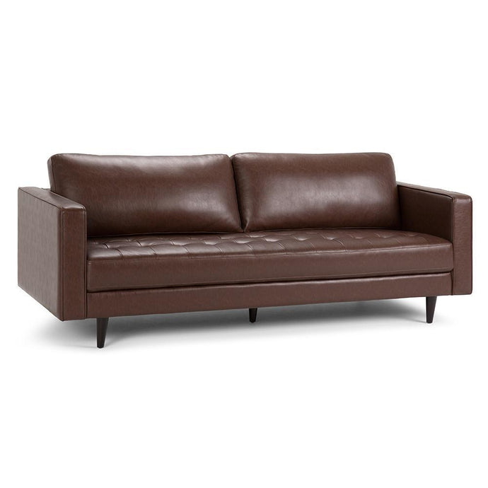 Distressed Cognac Distressed Faux Leather | Blaine Sofa
