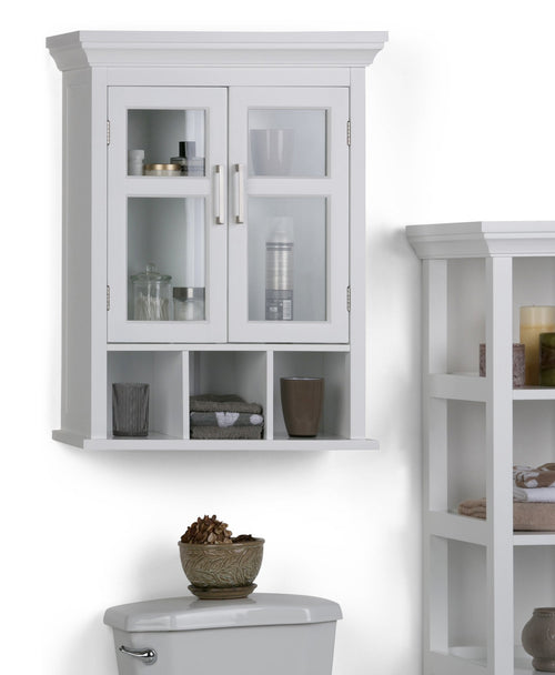 Pure White | Avington Two Door Wall Cabinet with Cubbies