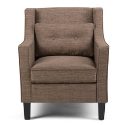 Fawn Brown Linen Look Polyester Fabric | Ashland Linen Look Fabric Club Chair
