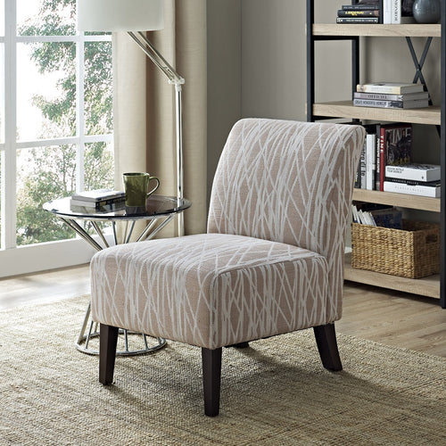 Beige and White | Woodford Fabric Accent Chair