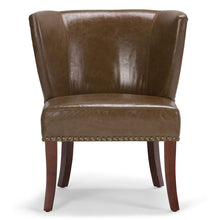 Load image into Gallery viewer, Saddle Brown | Jamestown Bonded Leather Accent Chair