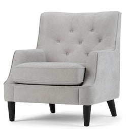 Light Dove Grey Chenille Look Fabric | Grange Tufted Club Chair
