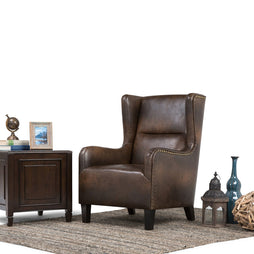 Distressed Brown Bonded Leather | Taylor Wingback Chair