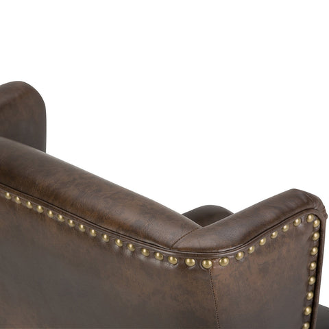 Distressed Brown | Taylor Bonded Leather Wingback Chair