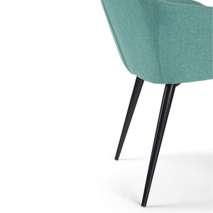 Aqua Blue Linen Look Polyester | Marley Dining Side Chair