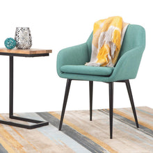 Load image into Gallery viewer, Aqua Blue Linen Look Polyester | Marley Dining Side Chair