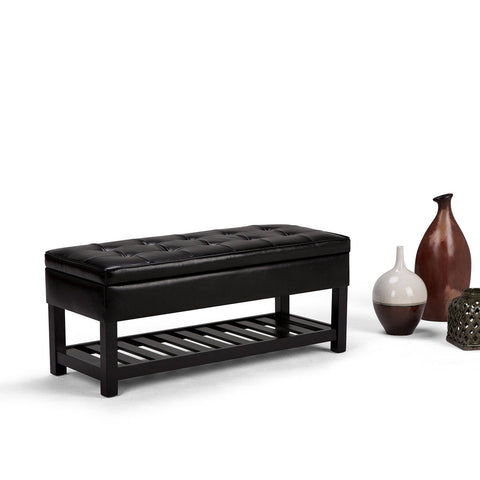 Midnight Black PU Faux Leather | Cosmopolitan Faux Leather Storage Ottoman Bench