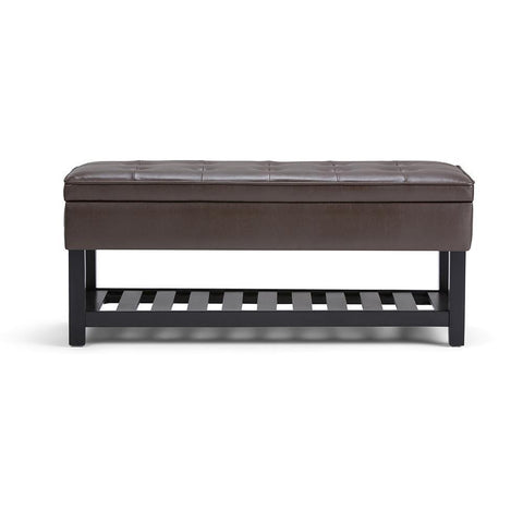 Chocolate Brown PU Faux Leather | Cosmopolitan Faux Leather Storage Ottoman Bench