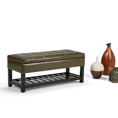 Deep Olive Green PU Faux Leather | Cosmopolitan Faux Leather Storage Ottoman Bench