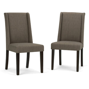 Light Mocha Linen Look Polyester Fabric | Sotherby Faux Leather Deluxe Dining Chair (Set of 2)
