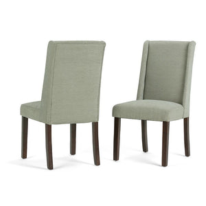 Mist Woven Polyester Fabric | Sotherby Faux Leather Deluxe Dining Chair (Set of 2)