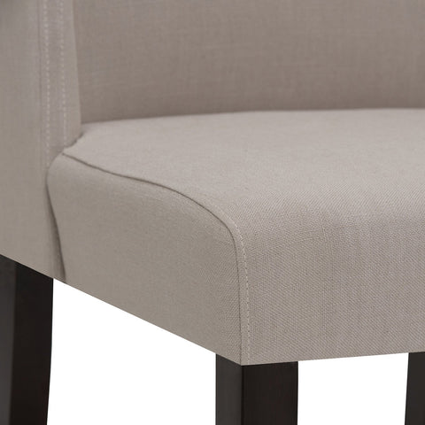 Natural Linen Look Polyester Fabric | Sotherby Faux Leather Deluxe Dining Chair (Set of 2)