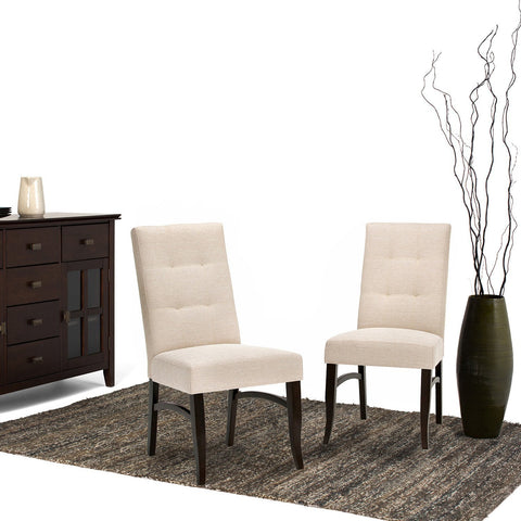 Natural | Ezra Linen Look Fabric Deluxe Dining Chair (Set of 2)