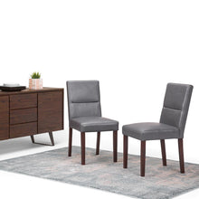 Load image into Gallery viewer, Stone Grey | Ashford Pattern Faux Leather Parson Dining Chair (Set of 2)