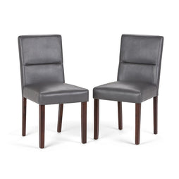 Stone Grey | Ashford Pattern Faux Leather Parson Dining Chair (Set of 2)