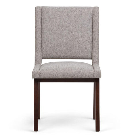 Grey Linen Look Polyester Fabric | Draper Mid Century Bonded Leather Dining Chair