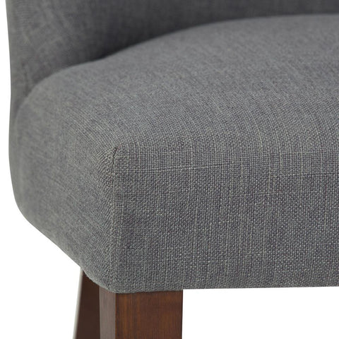 Slate Grey Linen Look Polyester Fabric | Walden Linen Look Deluxe Dining Chair (Set of 2)