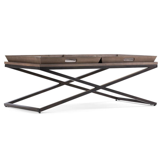 Damien Solid Wood Coffee Table in Distressed Natural Elm