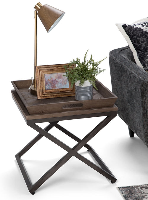 Damien Solid Wood End Table in Distressed Natural Elm