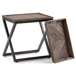 Damien Solid Wood Narrow Side Table in Distressed Natural Elm