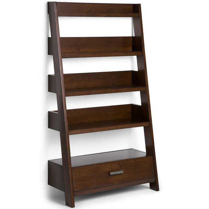 Medium Auburn Brown | Deanna Solid Wood Ladder Shelf