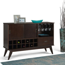 Draper Mid Century Sideboard Buffet with Glassware Storage