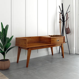 Teak Brown Without Cushion | Draper Mid Century Entryway Storage Bench