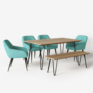Aqua Blue 6 Piece | Marley 6 Piece Dining Set with Bench