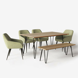 Light Green 6 Piece | Marley 6 Piece Dining Set with Bench