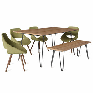 Acid Green 6 Piece Set | Malden IV 6 Piece Dining Set with Bench