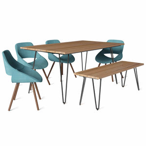 Turquoise Blue 6 Piece Set | Malden IV 6 Piece Dining Set with Bench
