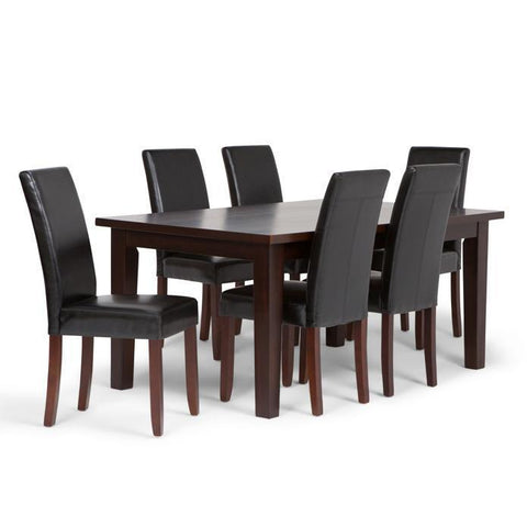 Midnight Black PU Faux Leather | Acadian Large 7 piece Dining Set