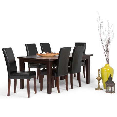 Midnight Black PU Faux Leather | Acadian 7 Piece Dining Set