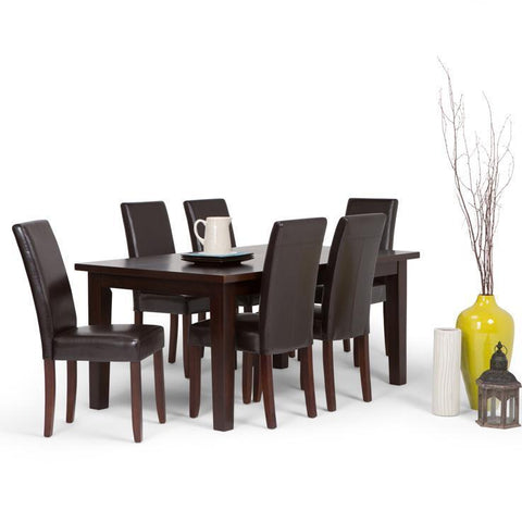 Tanners Brown PU Faux Leather | Acadian 7 Piece Dining Set